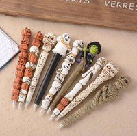 Wholesale 2016 New Hot and creative design halloween festival promotional pens gift gel pens ghost skull and witch pens