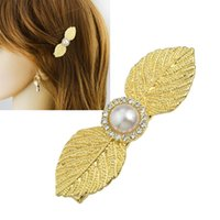 Wholesale New Hair Jewelry Gold Color Rhinestone Created Pearl Leaf Hair Clip Barrettes Hairwear Women Accessories