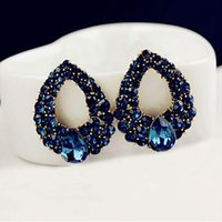 american grill - Popular Korean aristocratic style fashion water drop Sapphire earrings European and American high end boutique earrings jewelry