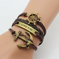 anchor party supplies - 2016 European and American fashion ITC selling supply European and American Dream retro rudder anchor horizontal multi bracelet