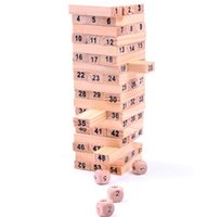 Wholesale 1set Wooden Tower Wood Building Blocks Toy Domino Stacker Extract Building Educational Jenga Game Gift Dice b172