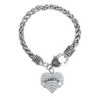 alert jewelry - 2016 Clear Crystal Heart Pendant DIABETIC Awareness Bracelet Medical Alert Jewelry Women Rhodium Plated Jewelry Fashion