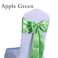 Wholesale Chair Bow Factory Price pc Set High Quality Satin Fabric Chair Sashes Bow Satin Chair Band Cover Wedding Decoration