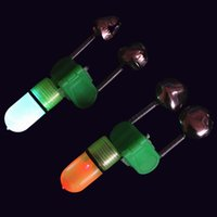 Wholesale Red Green LED Fishing Rod Bite Alarm Bells Fishing Rod Red Light Alerter Fishing Tool