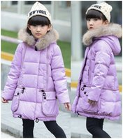Wholesale Coat child with furs winter Jackets For Girls Parka Biological cotton Thick Warm Outdoor Casual Children Jackets high quality