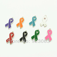 Wholesale Mix Colors Enamel Ribbon Awareness Charms Pendant Beads For Making Bracelet Necklace Jewelry Accessories x13mm