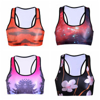 Wholesale Skyscape Galaxy Yoga Bras Full Cup Y Strap Sports Vest Professional Elastic Tank Tops Shock Absorber D Print Sleeveless Garment LNSsb
