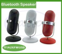 Wholesale JY Retro MINI Microphone Shape Bluetooth Speaker Built in Microphone with TF U disk MP3 Player for iPhone Samgsung DHL