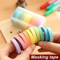 Wholesale 10 color Rainbow paper tape set Mini adhesive colored masking tapes scrapbooking stickers School supplies
