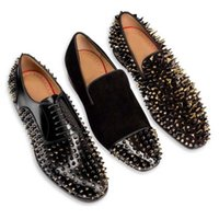 Wholesale Fashion Brand New Black Suede Red Bottom Men Flats Square Toe Gold Spiked Loafers Wedding Men Dress Shoe Size