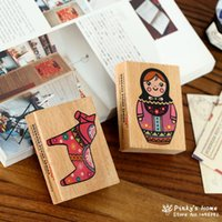 Wholesale Cute Little Horse Wooden Stamp Russian Doll DIY Diary Decorative Seal Stamp Tinta Sellos Scrapbook Stamps Stationery Set