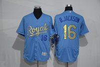 baseball brett - 2016 new blue gold mens baseball jerseys royals B Jackson Brett Hosmer perez Cain Gordon flexbase jersey