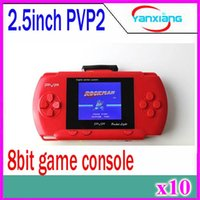 Wholesale 10pcs Bit Video Games Player PVP2 Slim Station Pocket Game Handheld Game Console Free Game Card Gift Box ZY PVP2