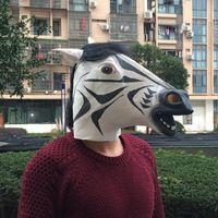 animal heads for sale - on sale Cosplay Halloween Party Mask Creepy Zebra mask Novelty Masquerade Mask Full Head Latex Animal Mask