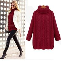 Wholesale New Fashion Women Sweater Winter Knitted Long Warm Sweater With Neck Women Sweater Casual Turtleneck For Women Pullover