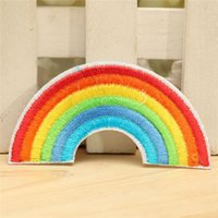 Wholesale 5pcs set New Rainbow Embroidery Iron on Appliqued Patch DIY Fabric Sticker Sewing Clothes Bags T shirt Hat Decorative Ornament