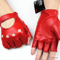 Wholesale New Female half finger leather gloves fashion hollow multicolor outdoor traveling driving riding leather gloves