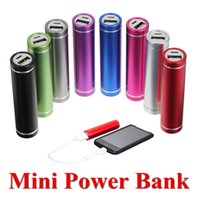 aluminium lithium - Mini Protable Cylindrical Aluminium Powerbank Universal Lithium ion Polymer Real Battery mah for iPhone Android Smartphones Power Banks