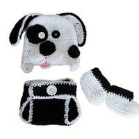baby puppy costumes - Newborn Puppy Costume Handmade Knit Crochet Baby Boy Girl Dog Animal Hat Diaper Cover Booties Set Infant Halloween Costume Photo Prop