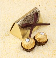 Wholesale Golden Gold Wedding Favors and Gifts Baby Shower Paper Candy Box Ferrero Rocher Boxes Wedding Favors Sweet Gifts Bags Supplies