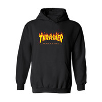 Wholesale Hip Hop Trasher Men Sportswear Hooded Sweatshirts Mens Pullover Hoodies Male Thrasher Hoodie Sport Suit XL