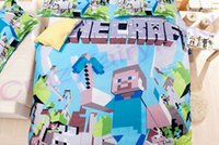 Wholesale 3pcs D Bedding Set Minecraft Bedding Steve Kids Bed Set Twin Full Queen Duvet Cover Fitted Sheet Flat Sheet Pillow Dhgate Q7