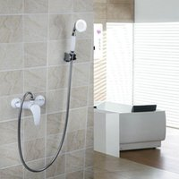 Wholesale White Painting Wall Mounted Tap Mixer Faucet Hot And Cold Mixer Bathroom Faucet With Handle Shower Spray DS