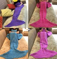 Wholesale Crochet Mermaid Blanket cm Sleeping bags Handmade Crochet Mermaid Tail Blankets Cartoon Sofa Blankets Mermaid Tail Sleeping Bags D634
