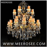 antique brass light fixtures - Large Tiers Arms Crystal Chandelier Light Fixture Antique Brass Luxurious Crystal Lustre Lamp MD8504 L24 D1150mm H1400mm