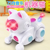 Wholesale 2016 New Electronic Pet Toys Electronic Robot Cat Toys Light Music Universal Interactive Toys Children Toys Brithday Gifts
