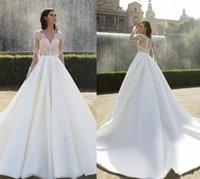 beautiful fantastic - Long Sleeve Iullsion Lace Wedding Deep V Neck Zipper Back Custom Made Formal Dress Chaple Train Beautiful Good Sell Fantastic Cheap Price