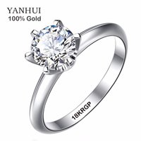 Wholesale Genuine Real K White Gold Ring With KRGP LOGO mm Carat CZ Diamond Wedding Rings For Women RING SIZE RS168