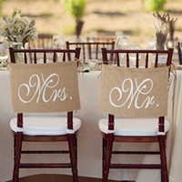 banner sets - Romantic Mr Mrs Burlap Chair Banner Set Chair Sign Garland for Rustic Wedding Party Chair Decoration