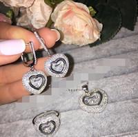 2016 Bijoux New Incroyable Shinny nuptiale bague Earring marque zircone Chopar de luxe pendentif Ensemble de bijoux Pour Wedding Party Soirée argent 925