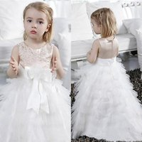 Wholesale Cute Champagne Stain White Tulle Tiered Flower Girls Dresses For Weddings Cheap Jewel Lace Applique Beaded Sash Birthday Gown