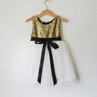 Sash balck tea - Gold Flower Girls Dresses A Line Balck Sash Tea Length Girls Party Dresses Adorable Gold Top White Tulle Dresses