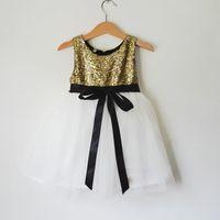 balck tea - Gold Flower Girls Dresses A Line Balck Sash Tea Length Girls Party Dresses Adorable Gold Top White Tulle Dresses