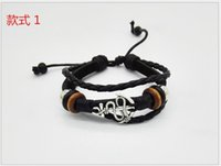 al gifts - New Hot More punk style hand woven leather bracelet first layer leather bracelet AL