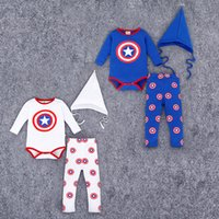 baby captain hat - Onesies Baby boy outfits Captain America shield Infants clothing Romper pant sharp hat Boutique clothes Autumn Quality