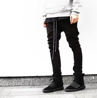 Wholesale Newest Hip Hop Men fear of god fog justin bieber style skinny slim long stripe zippers pants jogger in black kanye west