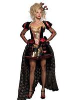 Wholesale Plus Size XL Hot Good Quality Women Sexy Deluxe Cosplay Luxury Wonderland Queen Dress Halloween Costumes W158419