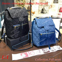backpacks collection - Collection Fall Denim Leather Backpack Original quality backpack women s double shoulder backpacks black blue denim backpack