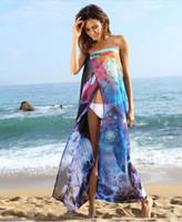 beach cove - Summer Beach Soft Chiffon Printed Front Split Women Bikini Cove ups Cheap Long Women Chiffon Beach Dress Strapless Backless Dress