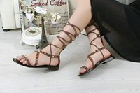 Wholesale Rome sandals Flat shoes Beaded The New Cross Diamond leather shoes with flat sandals sandals are thin and rough with sandals