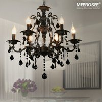 american classic kitchens - 6 Lamps Pendant Lighting Vintage chandelier interior decoration Crystal Classic Black Room Light American Wrought Iron Hanging Lamp Lustre