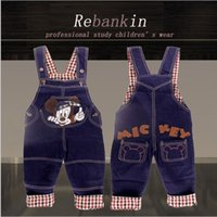 baby jean overalls - 2016 cartoon mickey braces jeans children s baby jean denim overalls Boys Girls Overall Jeans Long Trousers Kids toddler suspender pants