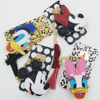 animations fittings - New arrial Cartoon Animation Case with Mickey Minnie Donald Duck pendants Fashion Tassel Back Cover Cases For iphone S SE S PLUS
