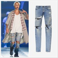 Wholesale Justin Bieber Jeans Fear Of God Ripped Jeans Black and Blue Rock Star Mens Jumpsuit Designer Denim Jeans Male Pants
