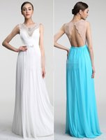 best photo prices - Pearls Crystals Neck Long Gowns Major Beadings Jewel Neck Backless Floor Length Chiffon Prom Dress Quality Best Designer Inexpensive Price
