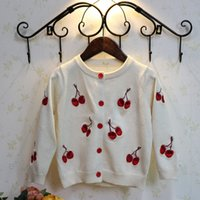 Wholesale New autumn sweater cardigans for kids years Cherry embroidery sweater cardigan for girls